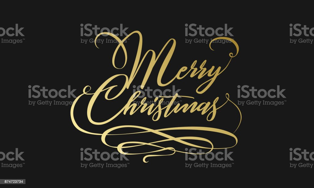 Merry Christmas hand lettering in gold isolated on white. Vector image. Merry christmas sign in a caligraphic style vector art illustration