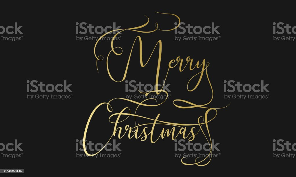 Merry Christmas hand lettering in gold isolated on white. Vector image. Merry christmas sign in a calligraphic style. Merry christmas calligraphy sign for flyer, poster, banner. Vector vector art illustration