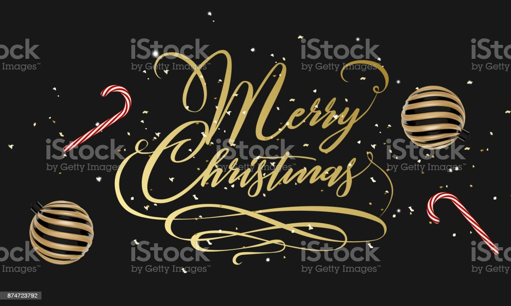 Merry Christmas hand lettering in gold with confetti, Christmas ball and lollipop candy isolated on white. Vector image. Merry christmas sign in a caligraphic style. vector art illustration