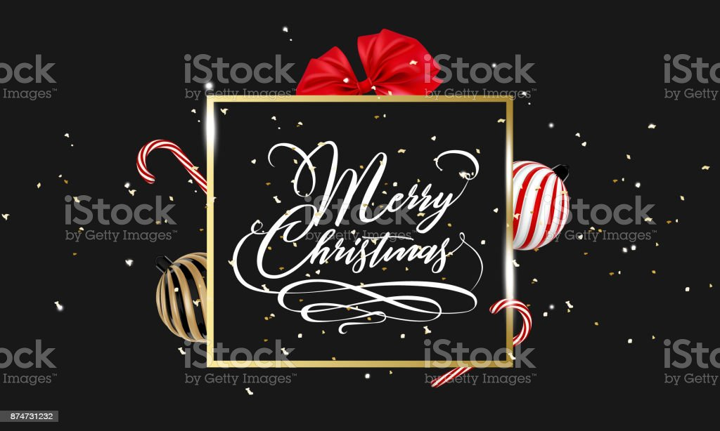 Merry Christmas hand lettering in gold with confetti, Christmas ball, ribbon bow and lollipop candy isolated on white. Merry christmas caligraphic sign for flyer, poster, banner. Vector vector art illustration