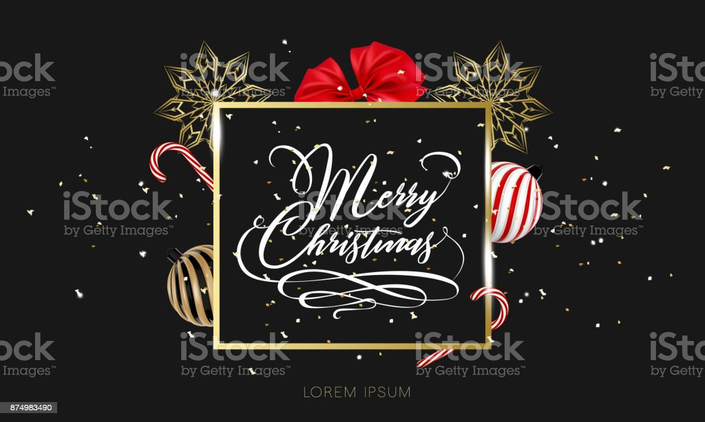Merry Christmas hand lettering in gold with confetti. Christmas ball, ribbon bow and lollipop candy isolated on white. Merry Christmas calligraphy sign for flyer, poster, banner. Vector vector art illustration