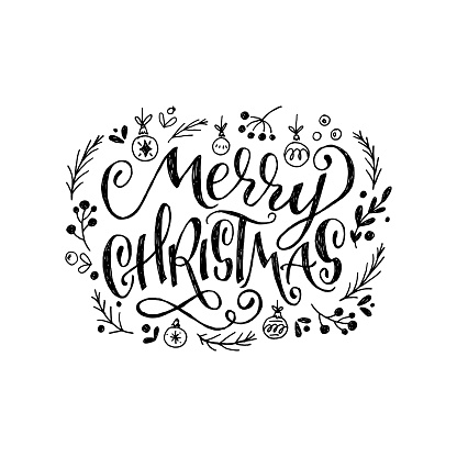 Merry Christmas hand lettering inscription clipart