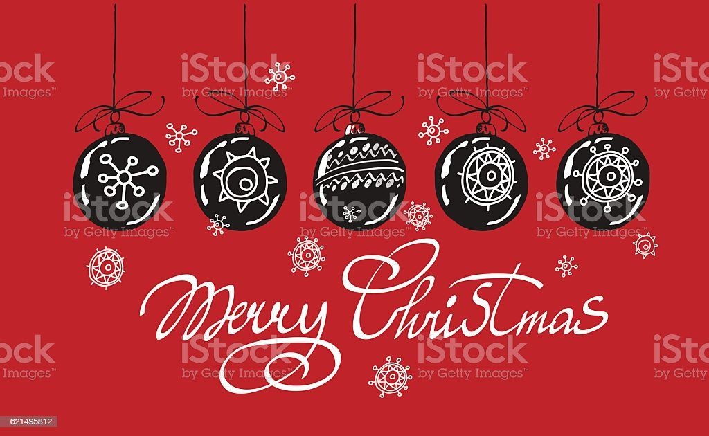 Merry Christmas hand lettering isolated on red background. Vector image. merry christmas hand lettering isolated on red background vector image – cliparts vectoriels et plus d'images de blanc libre de droits