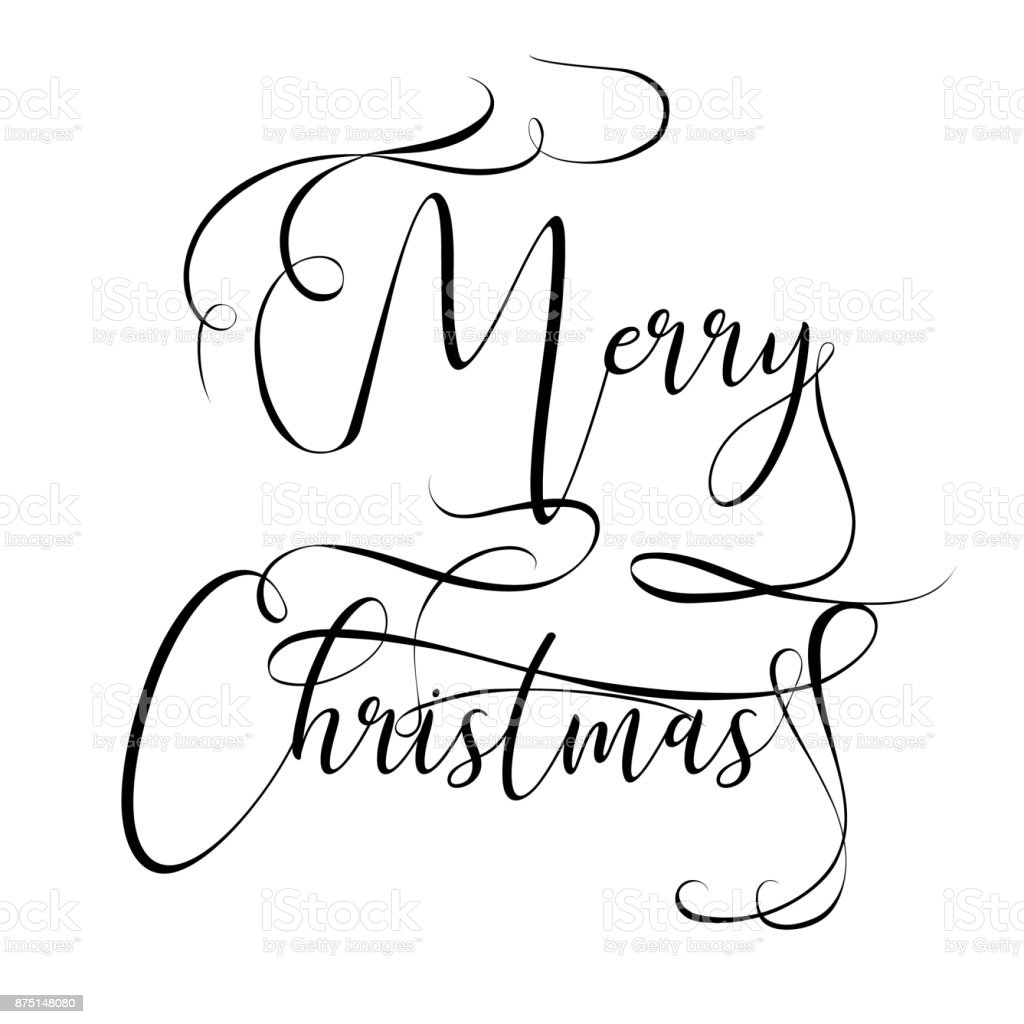 Merry Christmas hand lettering isolated on white. Vector image. Merry christmas sign in a caligraphic style vector art illustration