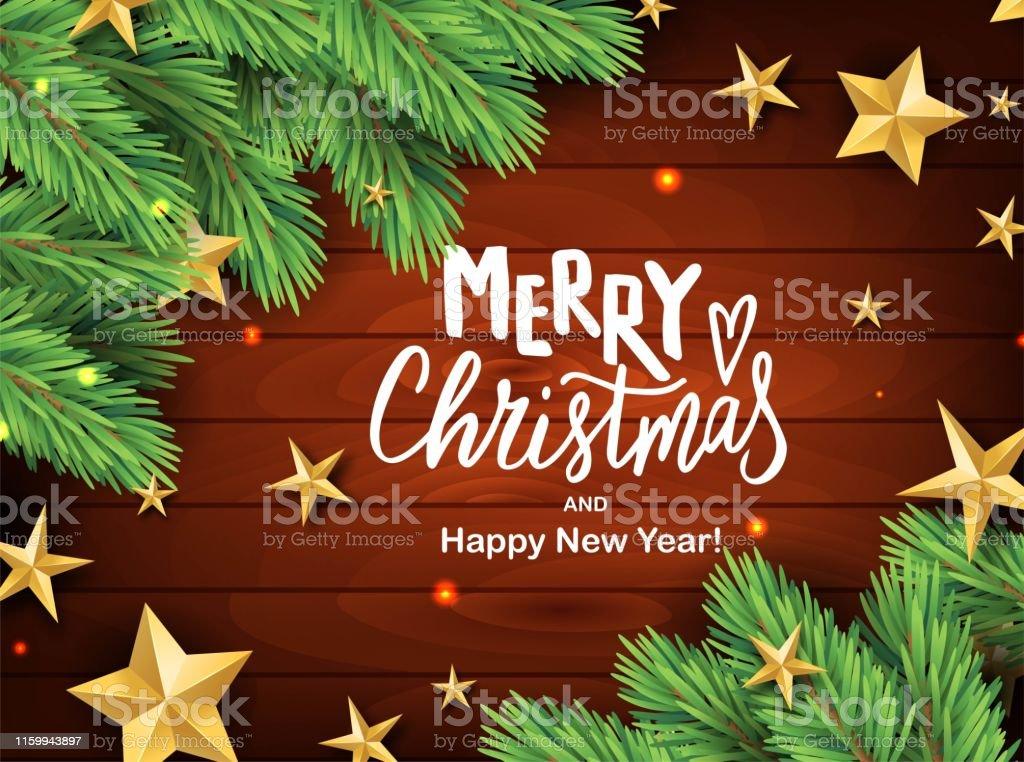 Frohe Weihnachten Text Karte.Frohe Weihnachten Hand Brieftextkarte Realistische Kiefer