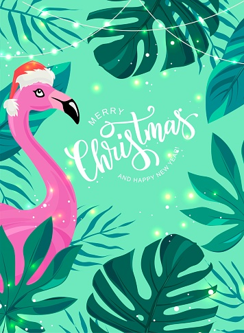 Merry Christmas hand lettering text for exotic New Year celebration. Pink flamingo bird with tropical leaves. Vector illustration.