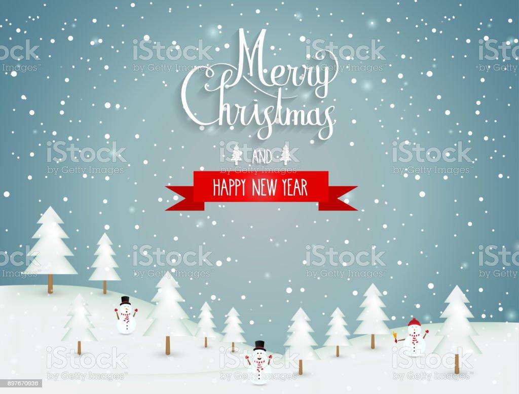 Frohe Weihnachten Hand Schriftzug Winterlandschaft Neujahrplakat ...