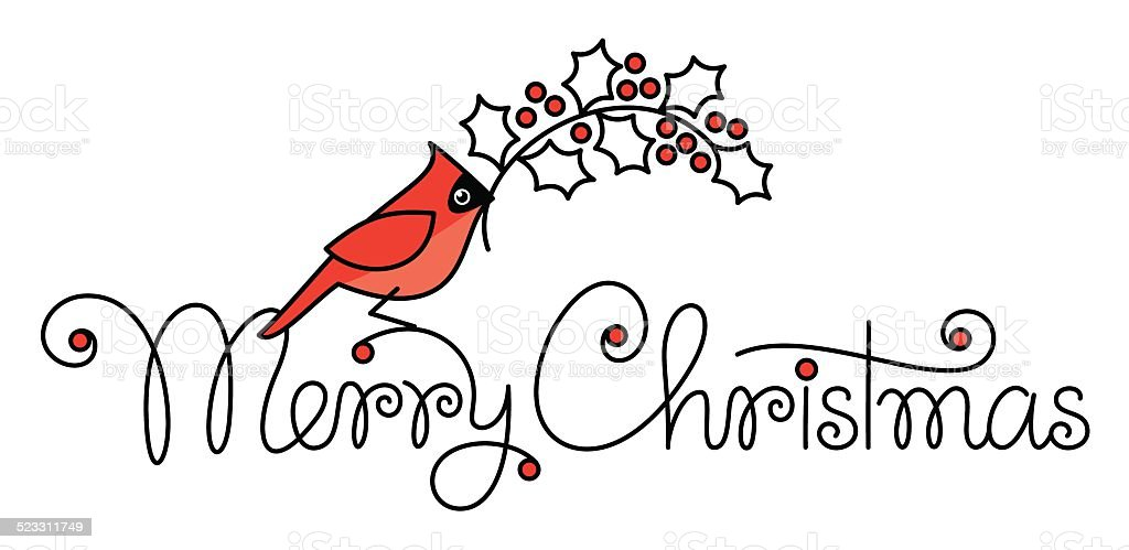 merry christmas hand lettering with red robin bird and branch royalty free merry christmas hand open comp - Is Red Robin Open On Christmas