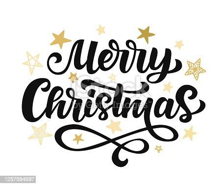 istock Merry Christmas hand written lettering 1257594597
