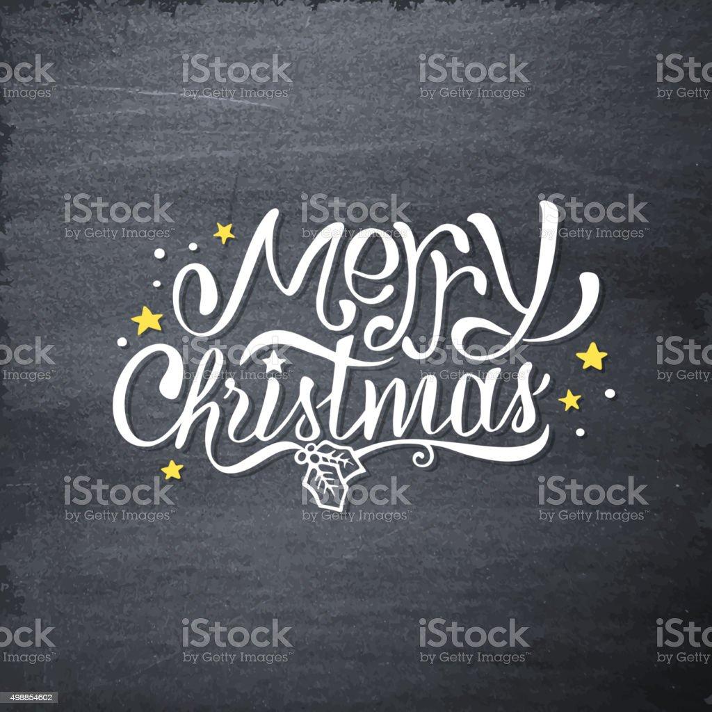 Merry Christmas Handdrawn Greetings On Chalkboard Stock Vector Art