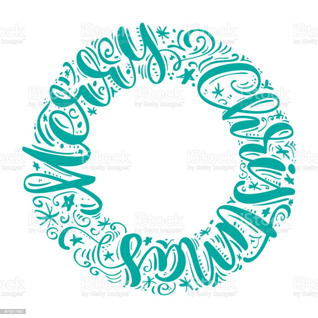 Merry Christmas Hand Lettering Text Written In A Circle Handmade Vector Calligraphy Collection Scandinavian
