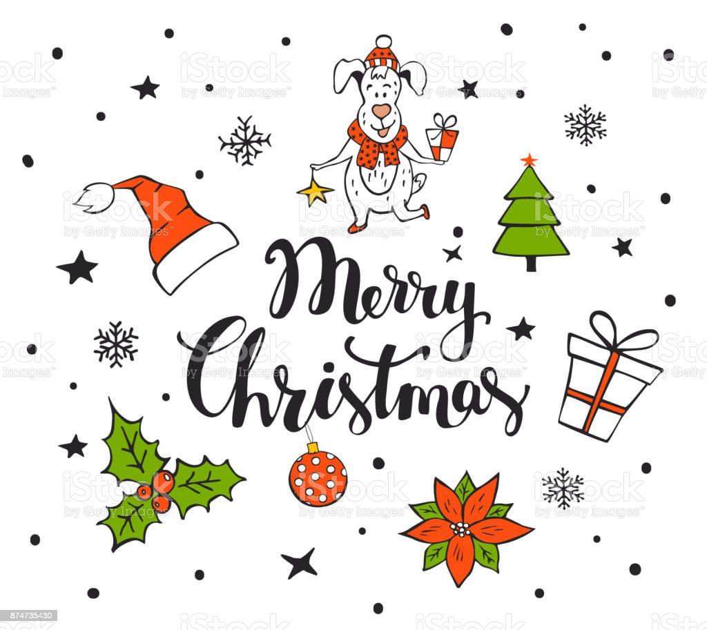 Artikel Von Weihnachten.Frohe Weihnachten Handschriftlich Handgezeichneten Hintergrund Mit