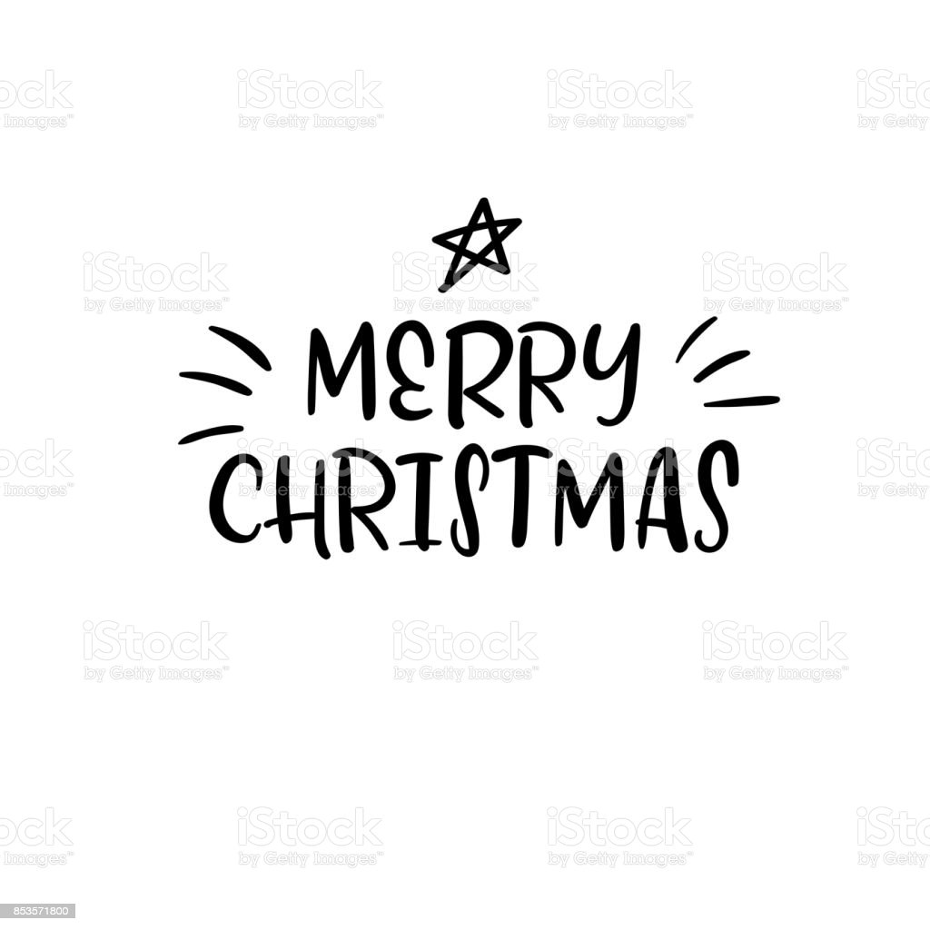 Merry Christmas Calligraphy.Merry Christmas Handwritten Inscription Hand Lettering Holiday Phrase Calligraphy Vector Illustration Stock Illustration Download Image Now