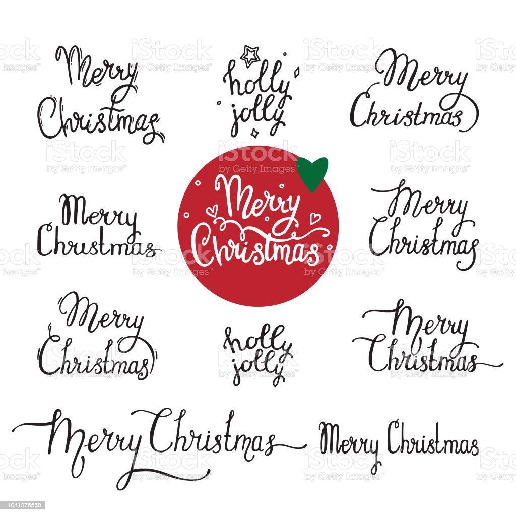 Merry Christmas Handwritten Lettering Label Emblem Text Design For ...