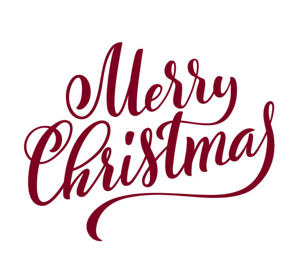 ilustrações de stock, clip art, desenhos animados e ícones de merry christmas handwritten lettering. lettering design card template. vector. - texto