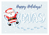 Merry Christmas! Happy Holidays! Funny Santa Claus lying in snow and making a Snow Angel. Vector illustration.