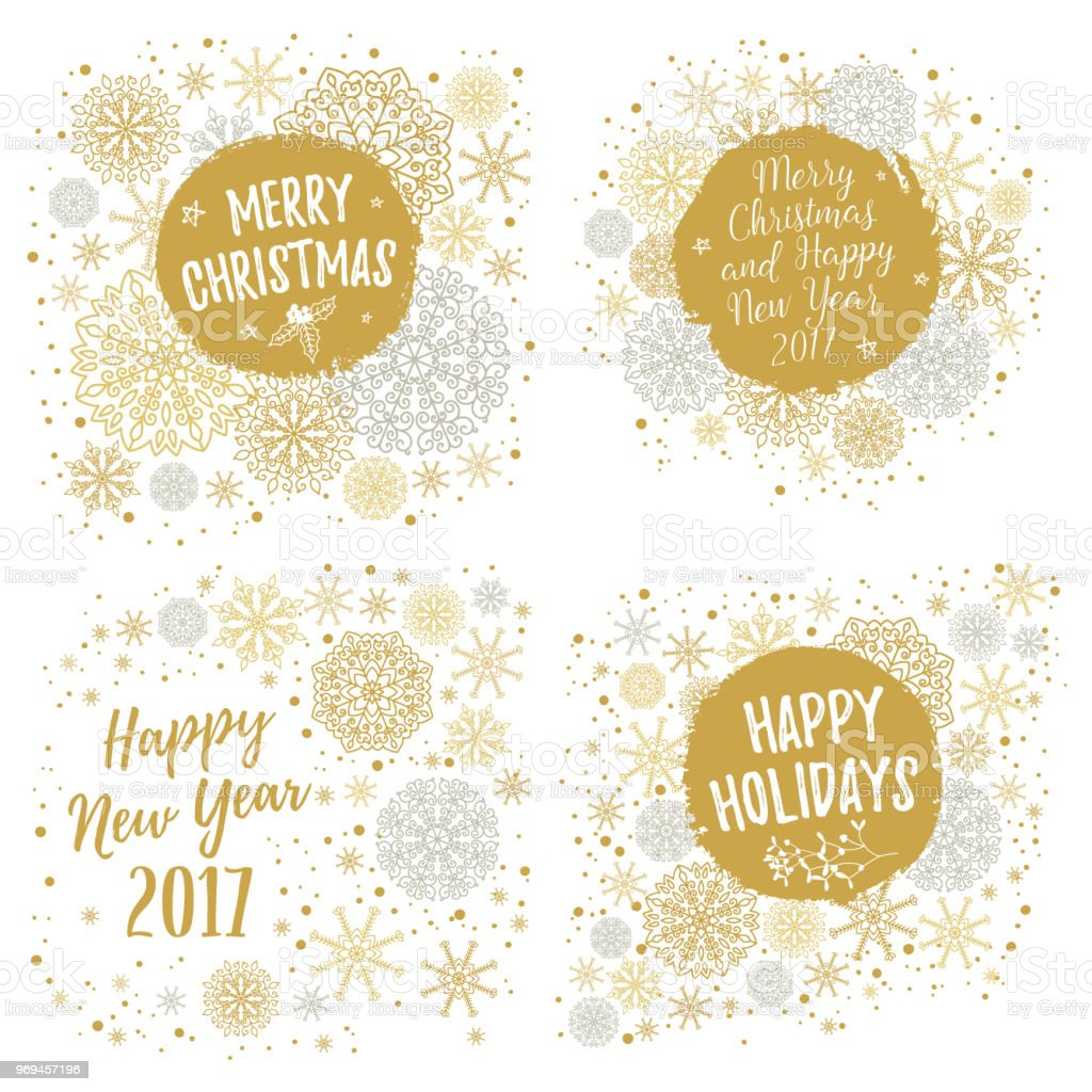 merry christmas happy holidays happy new year 2017 greeting cards set vector winter
