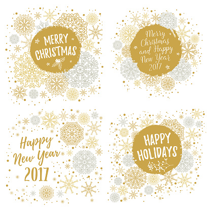 Merry Christmas, Happy Holidays, Happy New Year 2017 greeting cards set. Vector winter holidays backgrounds with hand lettering calligraphic, snowflakes, falling snow.