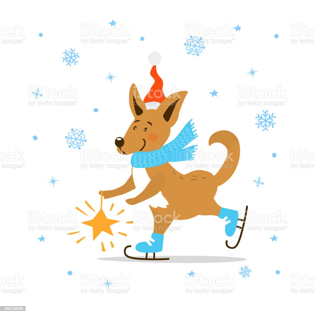 merry christmas happy new year 2018 cute cartoon dog in santa hat and winter scarf ice