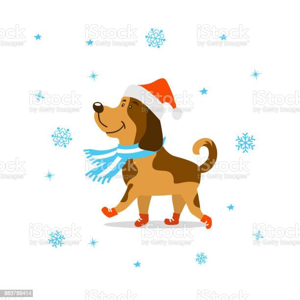Merry christmas happy new year 2018 cute cartoon dog in santa hat and vector id883789414?b=1&k=6&m=883789414&s=612x612&h=aiuyzp0zoi4 4m8hjcpga3vaztf2eordfqfvxqm7kus=