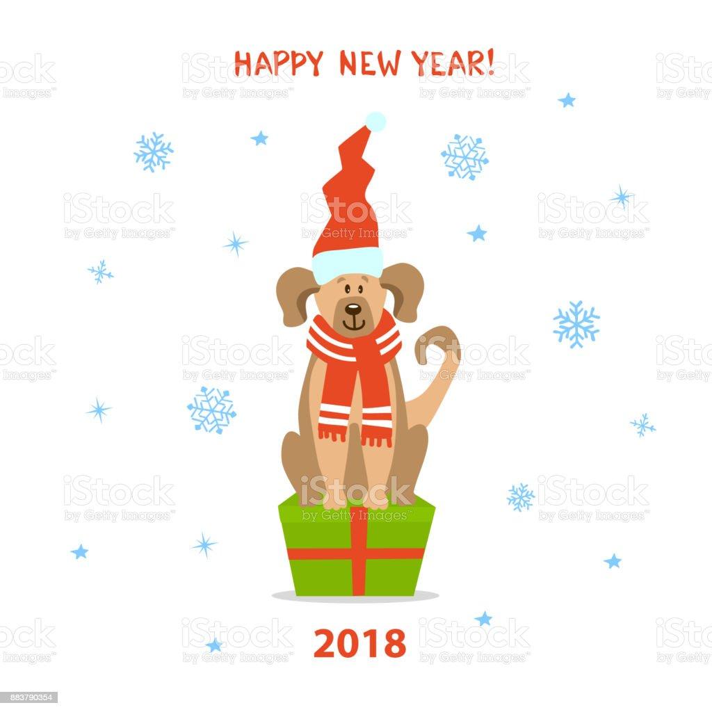 Frohe Weihnachten Frohes Neues Jahr 2018 Niedlichen Lustige Cartoon