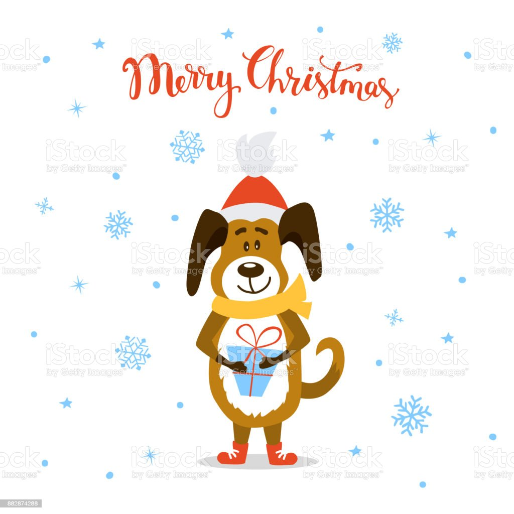 Merry Christmas Happy New Year 2018 Cute Funny Cartoon Dog Standing ...