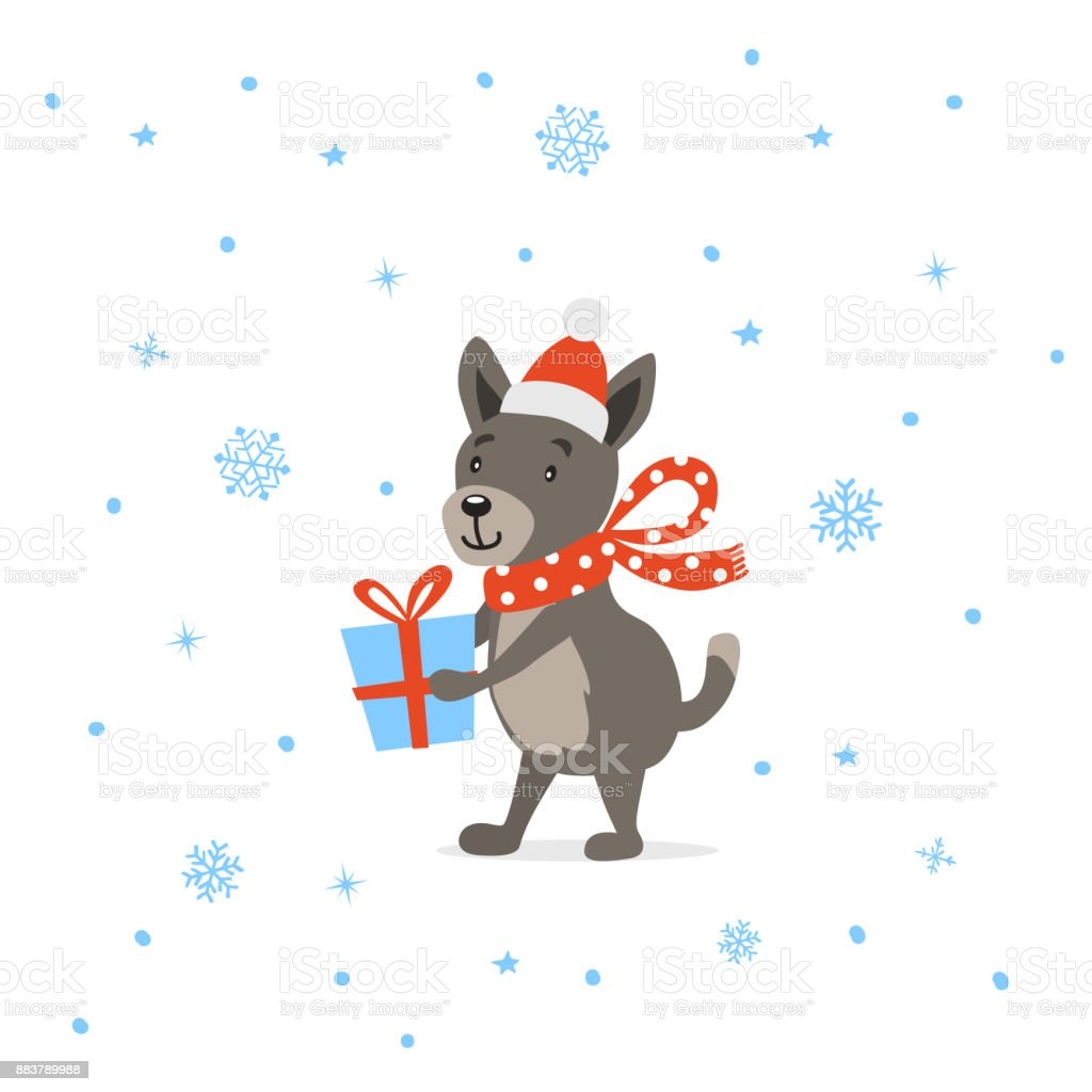 merry christmas happy new year 2018 cute funny cartoon dog with present royalty free merry