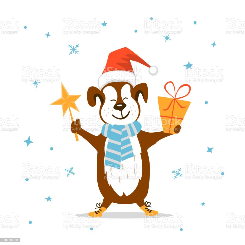 Merry Christmas Happy New Year 2018 Cute Funny Dog With Present And ...