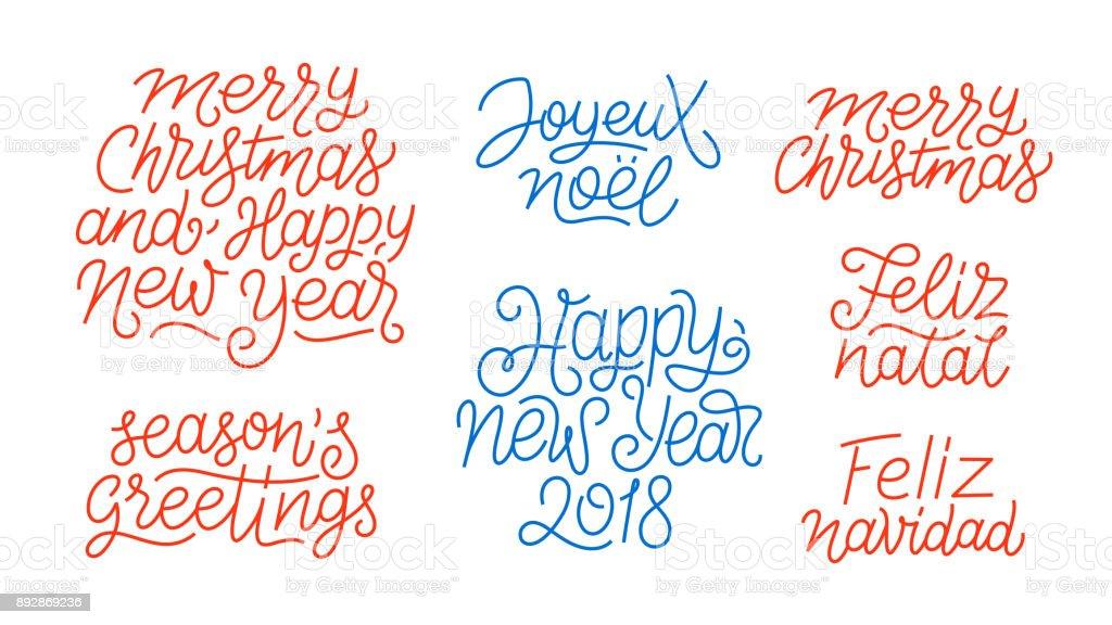 Merry Christmas Happy New Year 2018 Feliz Navidad Feliz Natal Joyeux ...