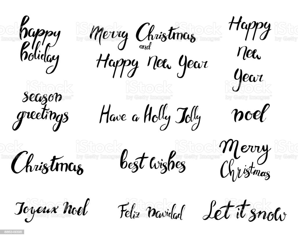 Merry Christmas Happy New Year 2018 Greeting Card Typography Xmas ...