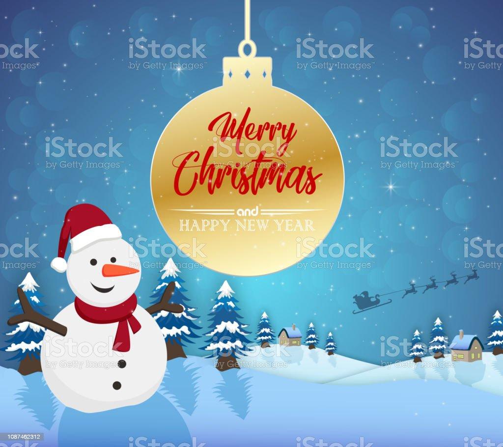 Weihnachten 2019 Schnee.Frohe Weihnachten Happy New Year 2019 Und Schneemannset Mit Schnee