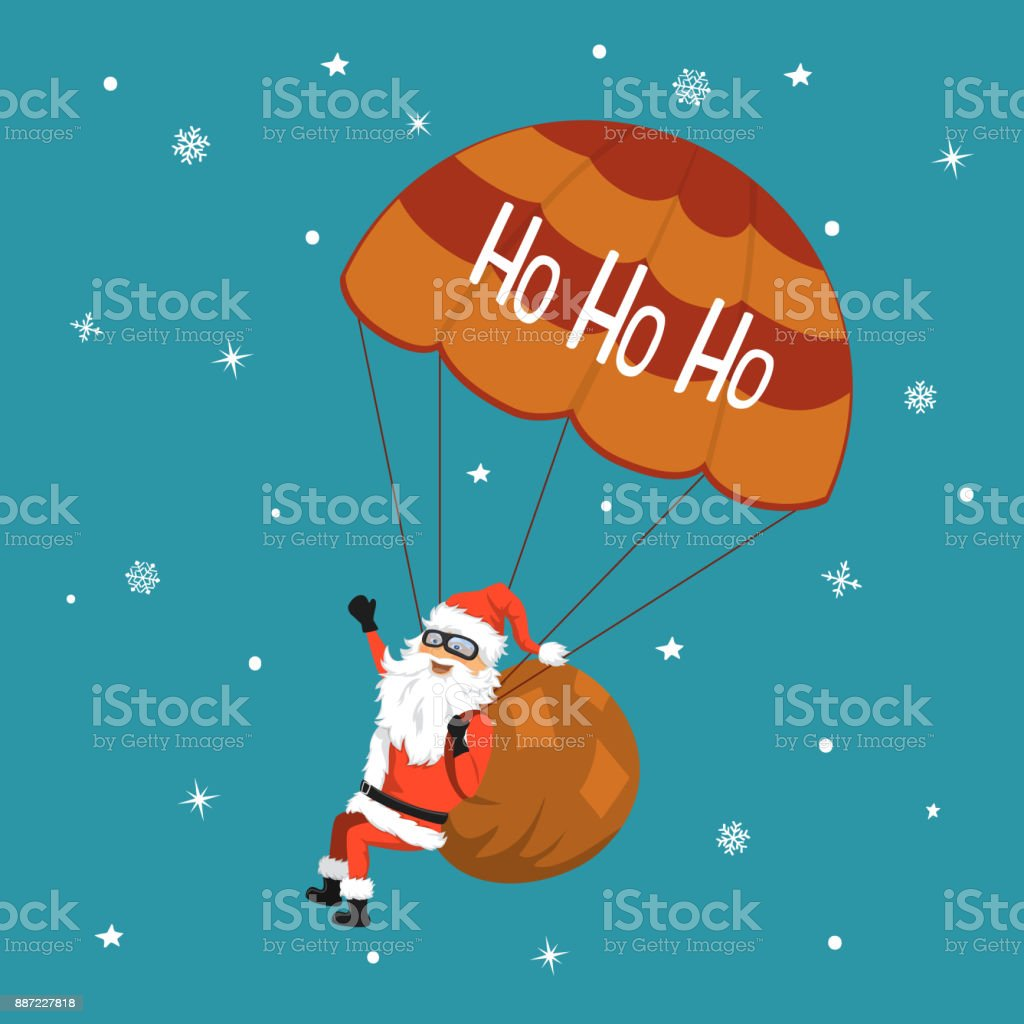 merry christmas happy new year background with cartoon cheerful santa claus with presents sack flying with
