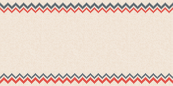 Ugly sweater Merry Christmas Happy New Year greeting card frame border seamless horizontal template. Vector illustration knitted background pattern folk style scandinavian ornaments. White, red, blue