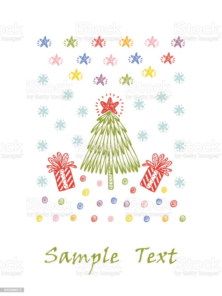 merry christmas happy new year card template christmas tree gift royalty free