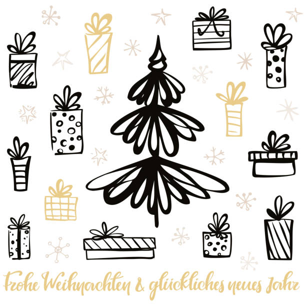 Merry Christmas & Happy New Year - Christmas card in German vector art illustration