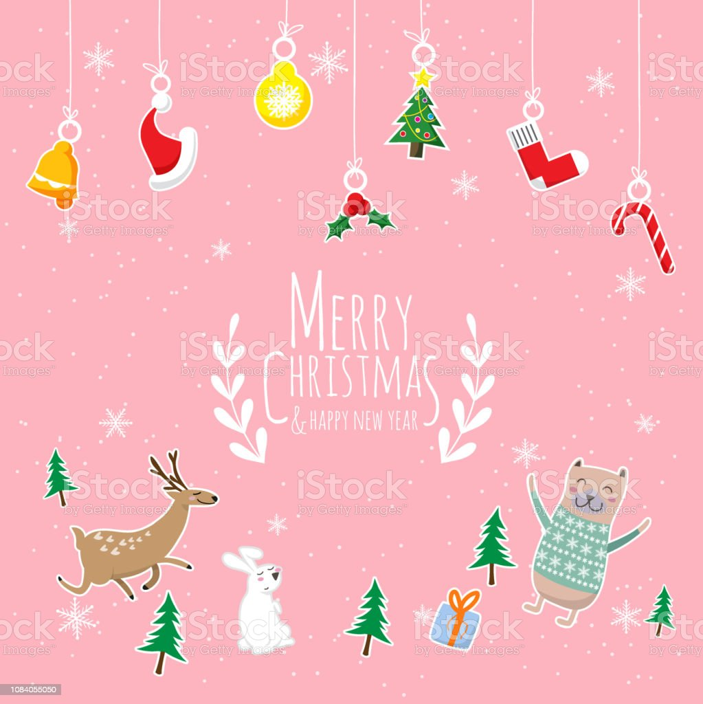 merry christmas happy new year cute cartoon of animals character christmas tree and gift box with text merry christmas hanging christmas ornaments isolated on pink background stock illustration download image now merry christmas happy new year cute cartoon of animals character christmas tree and gift box with text merry christmas hanging christmas ornaments isolated on pink background stock illustration download image now
