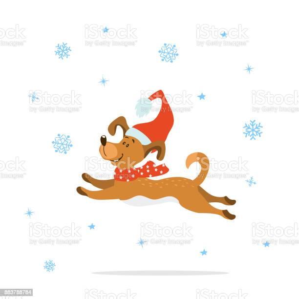 Merry christmas happy new year cute funny cartoon dog in xmas hat and vector id883788784?b=1&k=6&m=883788784&s=612x612&h=q mwjizqguoikq1umrl6o9cmkhaqckpuccsxarxkti4=