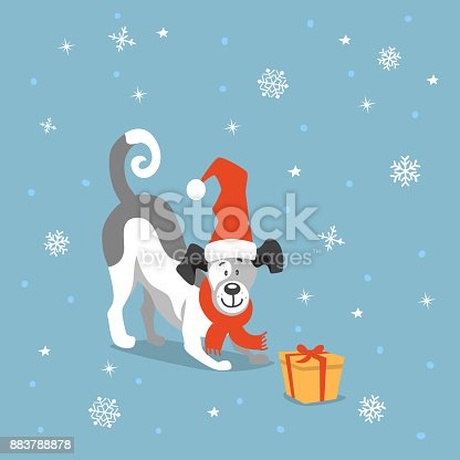 merry christmas happy new year cute funny cartoon dog playing with xmas gift box stock vector art more images of 2018 883788878 istock