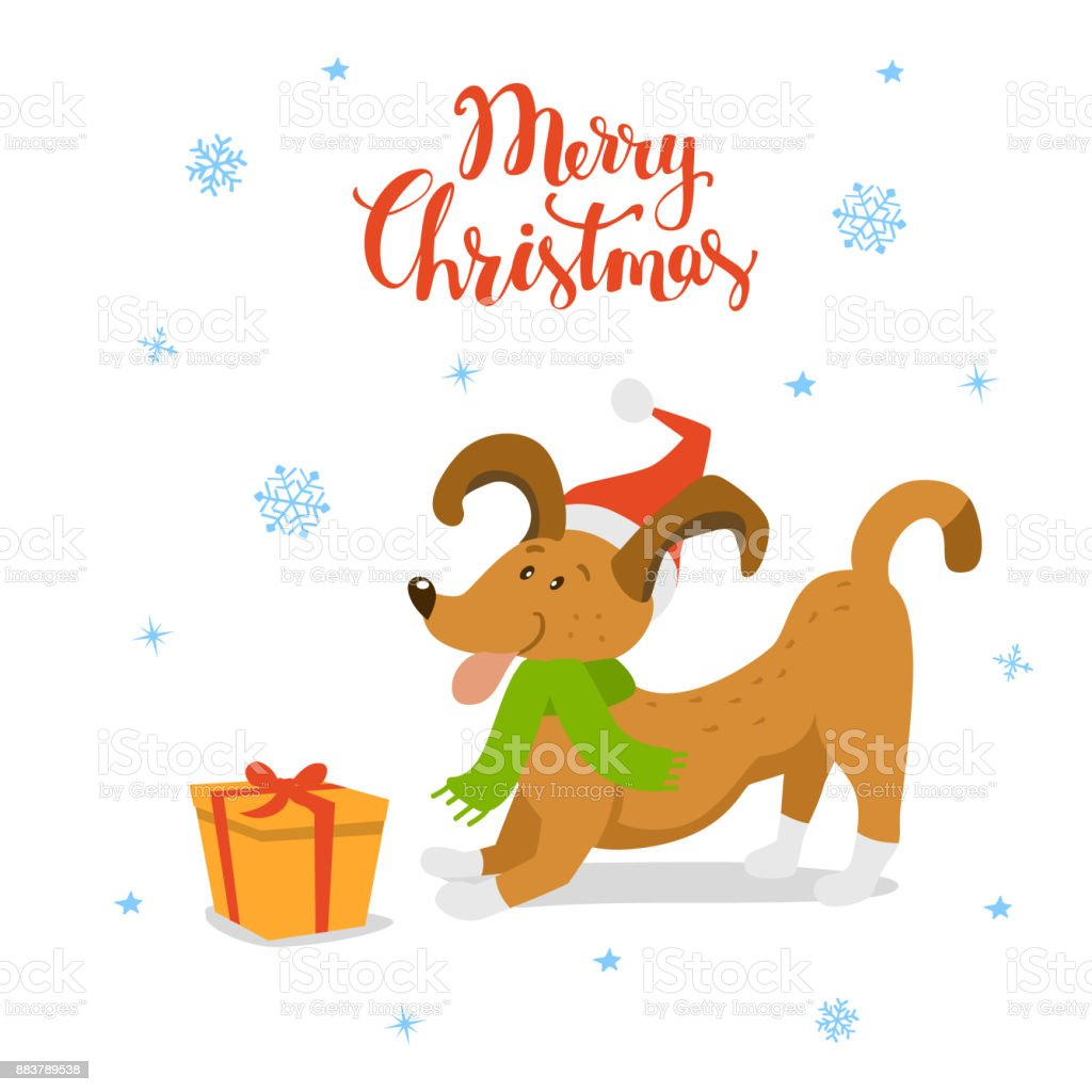 Merry Christmas Happy New Year Cute Funny Cartoon Dog With Xmas Gift ...