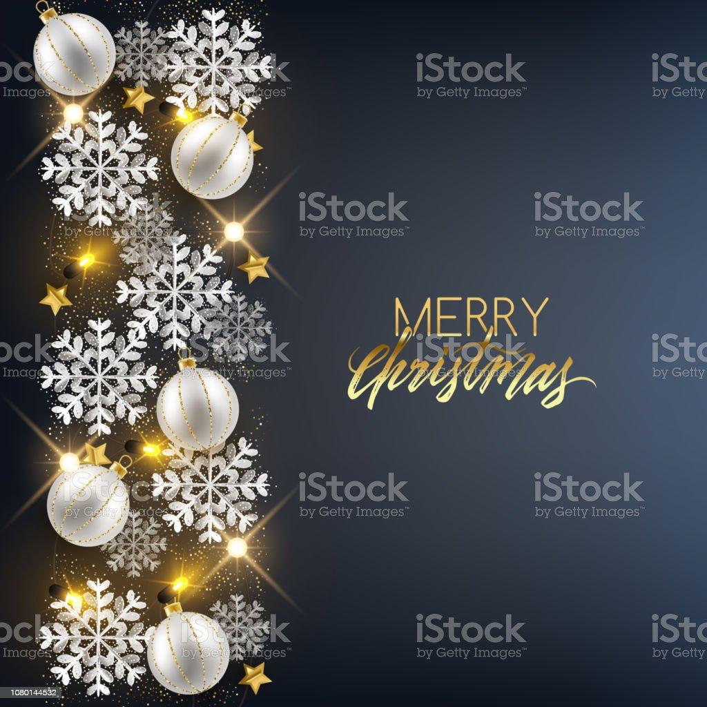 Glitzer Christbaumkugeln.Merry Christmas Happy New Year Dekorative Ansichtskarte Glänzende