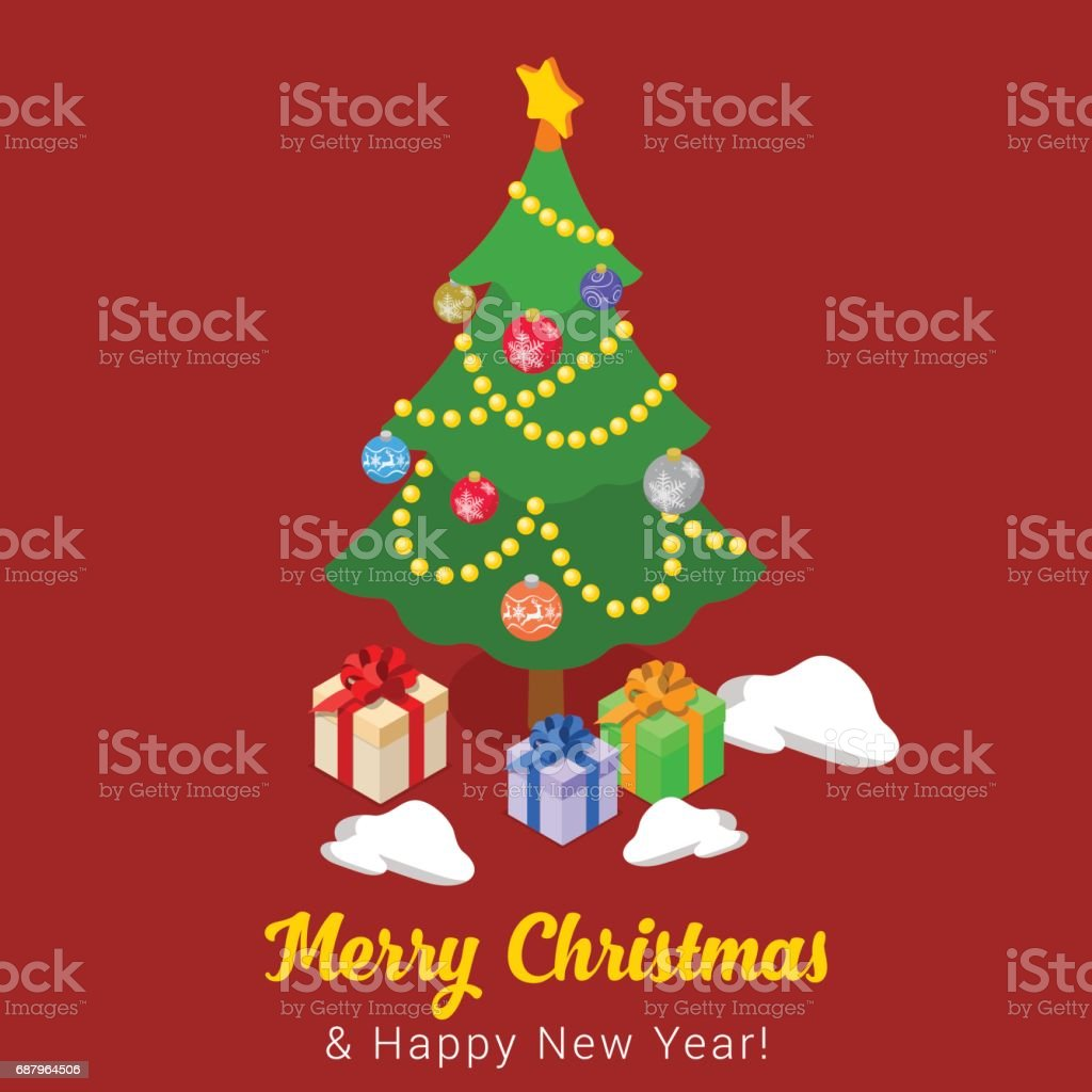 Christmas Leaflet Ideas.Merry Christmas Happy New Year Flat 3d Isometry Isometric
