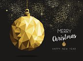 Merry christmas happy new year fancy gold ornament bauble shape in hipster origami style. Ideal for xmas card or elegant holiday party invitation. EPS10 vector.