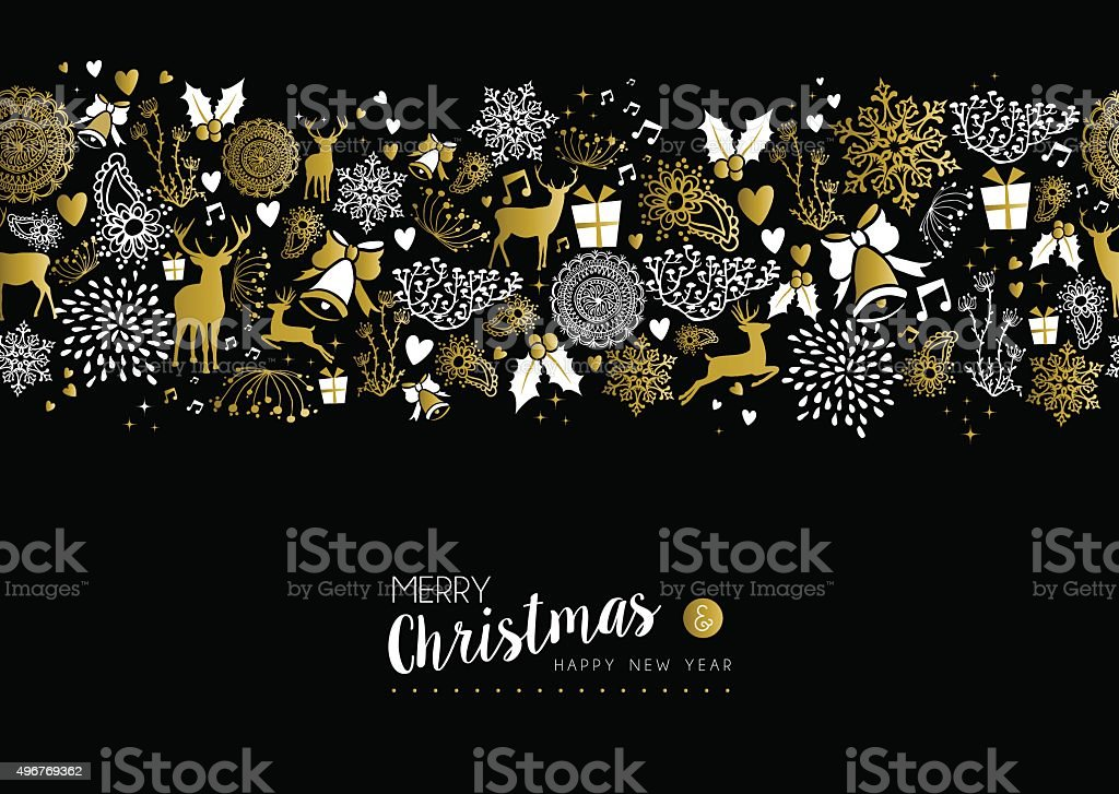 Merry christmas happy new year gold pattern retro vector art illustration