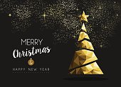 Merry christmas and happy new year fancy gold xmas tree in hipster low poly triangle style. Ideal for greeting card or elegant holiday party invitation. EPS10 vector.
