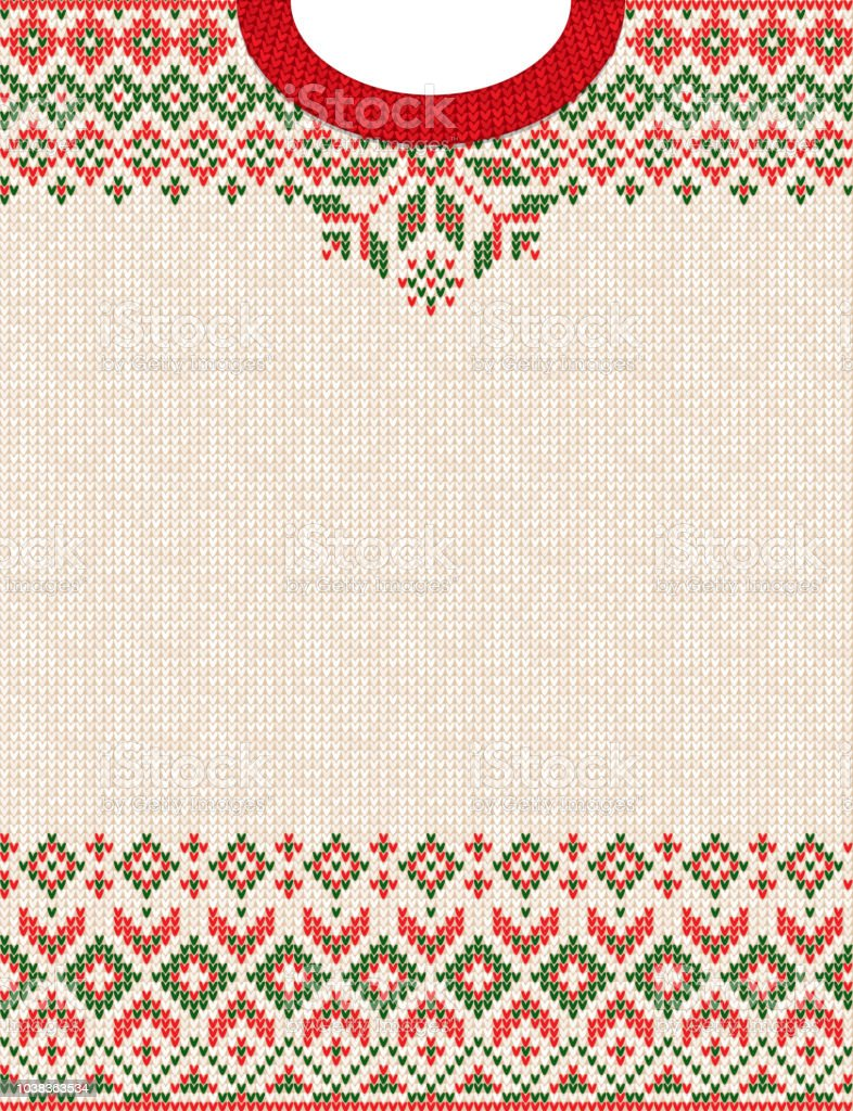 Merry Christmas Happy New Year Greeting Card Frame Knitted Pattern ...