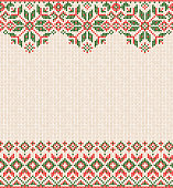 Ugly sweater Merry Christmas and Happy New Year greeting card frame border knitted pattern. Vector illustration knitted background pattern with folk style scandinavian ornaments. White, red, green colors.