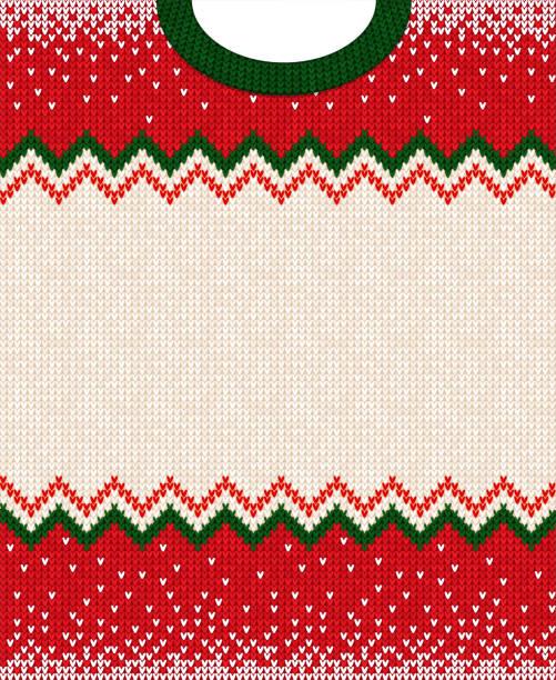 stockillustraties, clipart, cartoons en iconen met vrolijk kerstmis-gelukkig nieuwjaar wenskaart frame scandinavische versieringen - trui