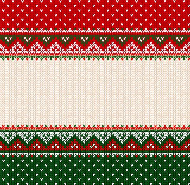 stockillustraties, clipart, cartoons en iconen met merry christmas happy new year wenskaart frame scandinavische ornamenten - trui
