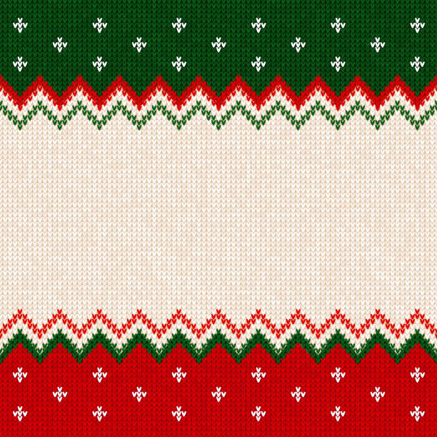 Merry Christmas Happy New Year greeting card frame scandinavian ornaments Ugly sweater Merry Christmas and Happy New Year greeting card frame border template. Vector illustration knitted background pattern with scandinavian ornaments. White, red, green colors. Flat style geographical border stock illustrations