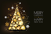 Merry Christmas, Happy New Year greeting card. Vector golden 3d christmas tree, gold gems and snowflakes on black background. Holiday horizontal banner layout, flyer, poster with diamonds, jewels.